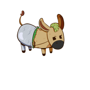 drawing of a donkey in the shape of a burrito.