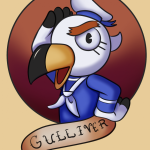 drawing of Gulliver from the Nintendo game Animal Crossing New Horizons