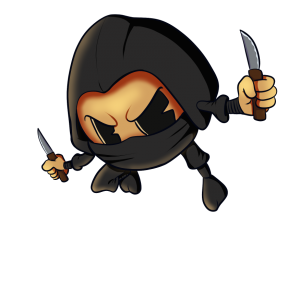 image of cartoon orange dressed in a ninja outfit