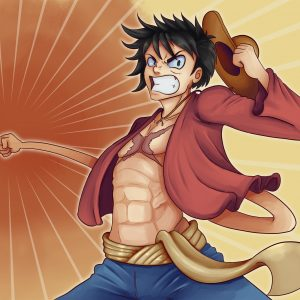 Drawing of Luffy D. Monkey from the anime One Piece. Luffy is throwing a punch; his arm is rubbery.