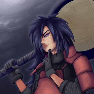 Drawing of Madara Uchiha from the anime Naruto Shippuden. Madara is holding his giant fan. He is in front of a moonlit night sky.
