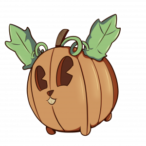 """Image of a pumpkin that looks like a bunny. There is no background. The pumpkin bunny """"bunkin"""" has leaves where a bunny has ears."""