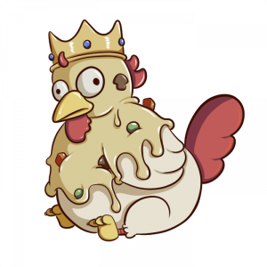 Drawing of a chicken covered in cream with vegetables, It is wearing a crown. It has a blank expression on its face. It's very round and sitting with its legs in front of itself.