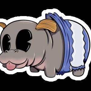 a hippopotamus with ruffle potato chip ears. It's wearing a potato chip bag as pants.