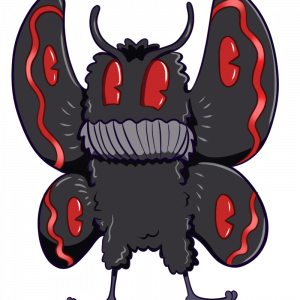 An image of the Mothman cryptid. Its wings are open, its colors gray and red.